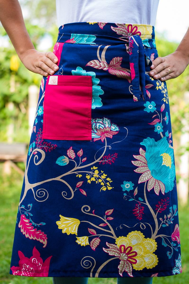 Avental de Cintura Azul Florido