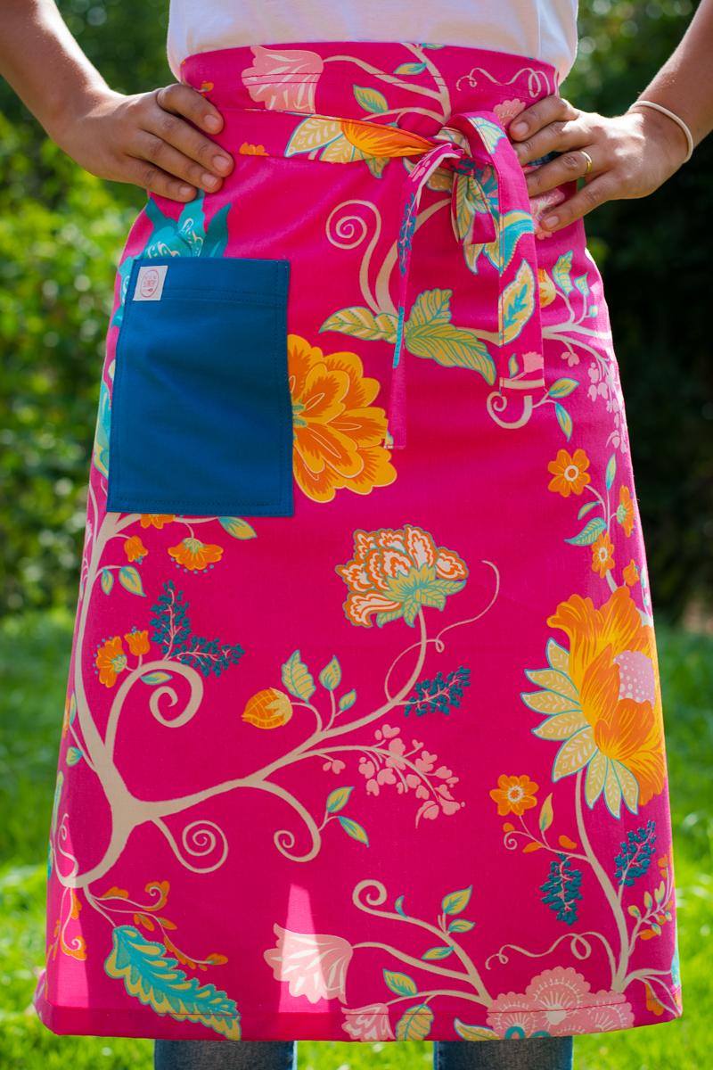 Avental de Cintura Rosa Florido