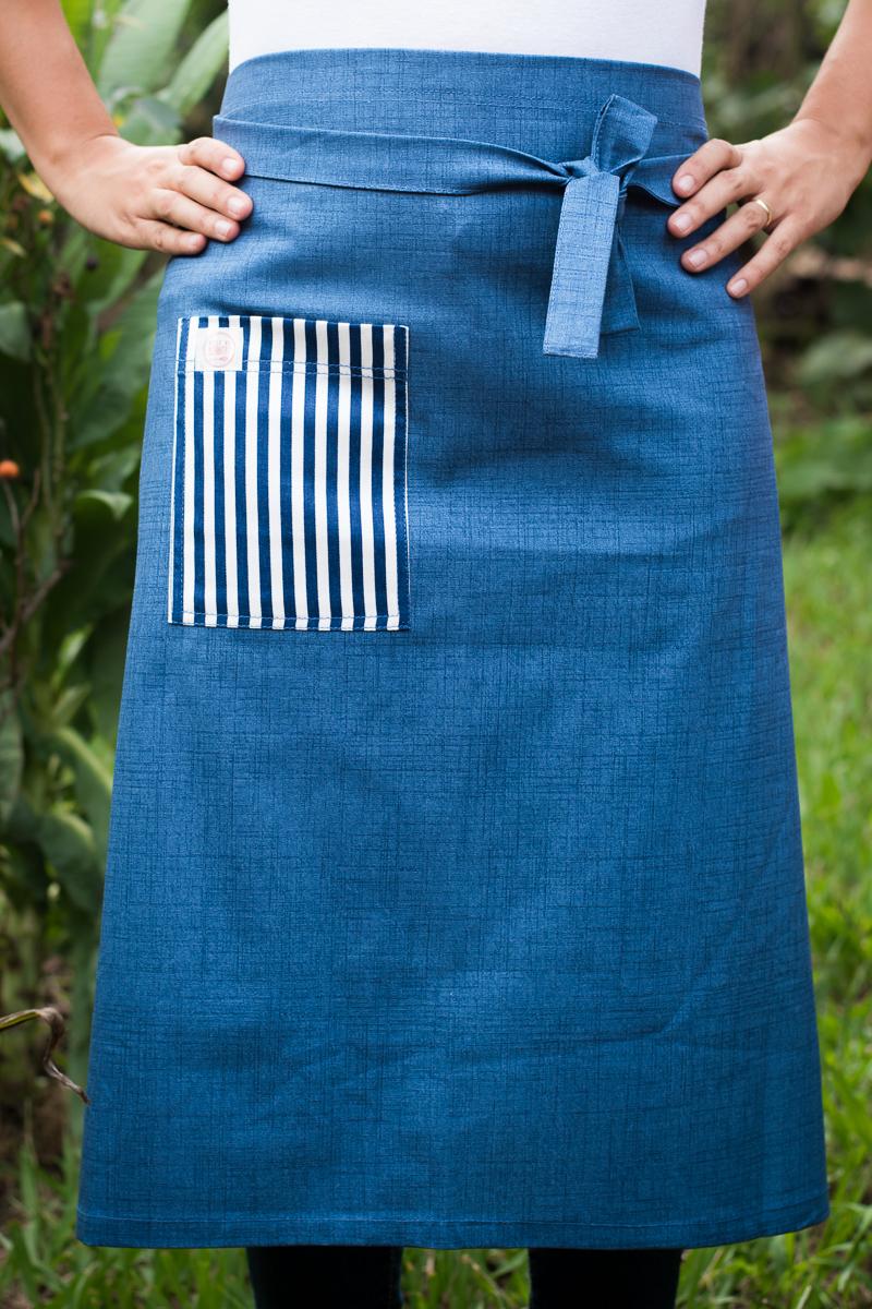 Avental de Cintura Azul Bolso Listrado